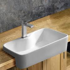semi recessed rectangular washbasin foggia surface mounted basin