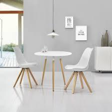 Esstisch Mit 2 Stühlen Weiß ø80cm Essgruppe Tisch Kunstleder