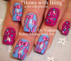 4 Nail Art Tutorials | Bow Nail Design | Pink bows and Bling Nails ...