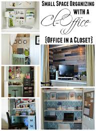 Organizing ideas for home office Small Small Space Organizing With Cloffice Office In Closet At The Happy Housie The Happy Housie Get Organized In Small Space With Cloffice office Closet The