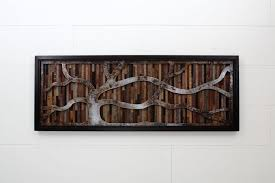 Wood Wall Art Made Of Old Barnwood And Natural Steel 48x18