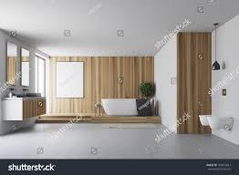 Wooden White Bathroom Interior Concrete Floor Stock Illustration ...