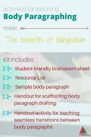 Activities For Body Paragraph Development