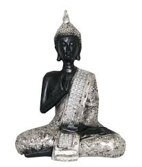 Divya Mantra Feng Shui Buddha Statue Beautiful Black And Silver Finish ...