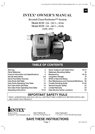 Intex Pool Gallons Chart Intex Owner S Manual Manualzz Com