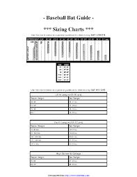 Baseball Bat Weight Chart Baseball Bat Guide Sizing Chart Pdfsimpli