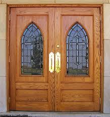 3 custom oak doors with leaded glass