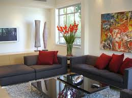Small Picture Home Decoration Awesome Living Room Design With Dark Sofa And Red