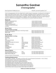 choreographer choreographers sample resume dance - Choreographer Resume