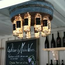 diy wine barrel wine bottle chandelier