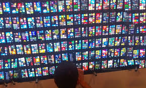 all nokia lumia phones. nokia puts 200 lumia 820 units together to make an impressive video wall all phones