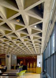Coffered ceiling of Lois Kahn art gallery at Yale University