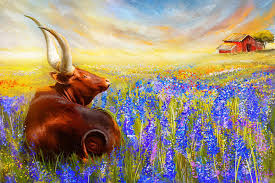 texas longhorn painting bluebonnet dream bluebonnet paintings by lourry legarde