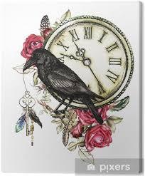 Obraz Akvarel Ilustrace S Vrány červené Růže Hodiny Klíče A Peří Gotické Pozadí S Květinami Cool Tisk Na Tričku Tetování Vinobraní Na Plátně