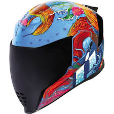 Icon Airflite Inky Full Face Helmet Blue Orange Xs 0101 12051