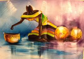 water is life african art painting acrylic on canvas unique african arts