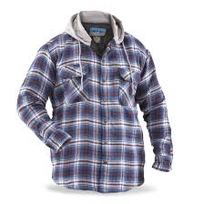 Men's Snap-Front Quilted Hooded Flannel Shirt - 639200, Insulated ... & Men's Snap-Front Quilted Hooded Flannel Shirt, Blue / White Adamdwight.com