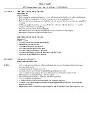 Home Health Care Job Description For Resume Certified Home Health Aide Resume Samples Velvet Jobs