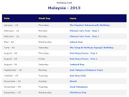printable year calendar 2013 malaysia 2013 printable holiday calendar printable hub