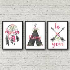 set of 3 tribal watercolour nursery bedroom wall art prints personalised