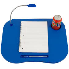 com laptop buddy 72 698006 lap desk portable tray with foam cushion adjule led desk light and cup holder by blue computers accessories