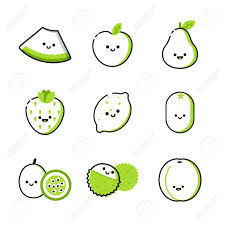 Two Tone Icons Collection Of Icons With Two Tone Fruits With Smiles Royalty Free