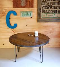 reclaimed wood round coffee table with hairpin legs home rustic sun 1 0 dsc