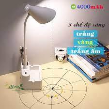 Đèn bàn học để bàn sạc pin sạc tích điện chống cận SL-878 pin 4000mAh ánh  sáng vàng trắng điều chỉnh được độ sáng chính hãng 150,000đ