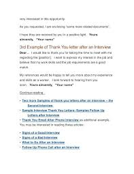 thank you after an interview example thank you letter after interview via email