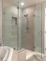 frameless corner shower doors with knee wall enclosures neo angle
