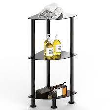 corner shelves furniture. Fitueyes 3-tier Glass Corner Shelf Bookcase Display Unit Storage Furniture Shower In Bathroom Shelves GS304701GB S