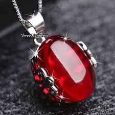 details about red stone pendant necklaces silver xmas gifts for her wife mother daughter women