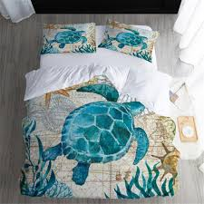3d digital printing sea turtle bedding set king queen dovet cover set quilt bedclothes 1x dovet cover 2x pillowcase fine bedding grey and white comforter