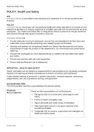business policy example company safety policy template health and safety statement template
