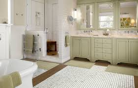 bright open modern bathroom with black white and brown floor tiles