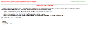 Experience Letter F On Sample Certification Letter For Driver Best