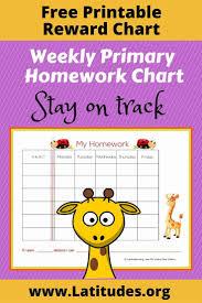Free Weekly Homework Sticker Chart Primary Acn Latitudes