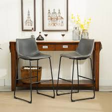 roundhill furniture lotusville vintage pu leather bar stools antique gray set of 2 com