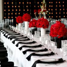 modern red black and white reception