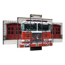 modern fire truck wall art interior decor home firetruck engine 5 piece canvas pottery barn