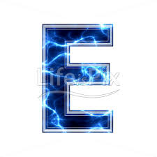 Blue Letters 3d Capital Letter With Blue Lightning Texture On White Background E