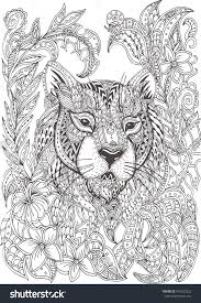 Small Picture Hand drawn tiger with ethnic floral doodle pattern Coloring page