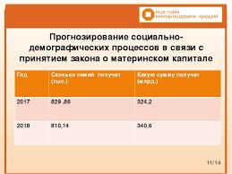 Презентация по праву социального обеспечения Материнский капитал  слайда 11 Прогнозирование социально демографических процессов в связи с принятием зак