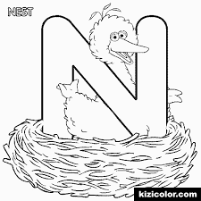 abc letter n nest sesame street bigbird coloring page various coloring pages
