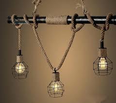 industrial light pendants country industrial vintage metal water pipe hemp rope pendant light home decoration drop