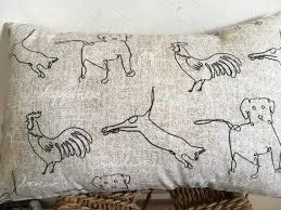 Animal Pillow Dog Cat Rooster Neutral Pillow Animal Primitive Sketch Pillow Farm Pillow Ranch Pillow Animal Word Natural Decor