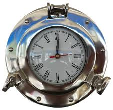 deluxe class porthole decorative wall clock chrome 8