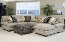 Furniture Cool Beige Fabric Sectional Couches Design With Pillow