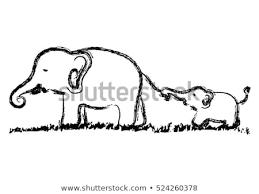 Baby Elephant Drawings Mom Baby Elephants Vector Hand Drawn Stock Vector Royalty Free