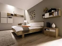 Modern Bedroom Shelves Brown Wall Color With Solid Wooden Bed Frame For Modern Master